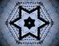 6 sided star abstract extruded mandala. White, blue and black. Small squares extruded mandala. Six sided star shape Royalty Free Stock Image
