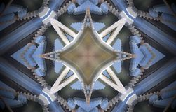 4 sided star metal structure extruded mandala. Abstract of metal structure with four sided star shape. Blue, white, brown. Small squares extruded mandala Stock Photos