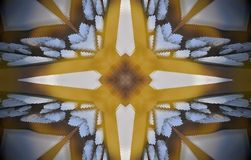 4 sided star metal structure extruded mandala. Abstract of metal structure with four sided star shape. Blue, white, brown and yellow. Small squares extruded stock illustration