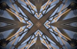4 sided star metal structure extruded mandala. Abstract of metal structure with four sided star shape and cross in the middle. Blue, white, brown. Small squares Stock Photography