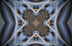 4 sided star metal structure extruded mandala. Abstract of metal structure with four sided star shape inside square. Blue, white, brown. Small squares extruded Stock Illustration