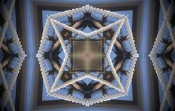 4 sided star metal structure extruded mandala. Abstract of metal structure with four sided star and squares inside squares shapes. Blue, white, brown. Small Royalty Free Stock Photo