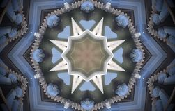 8 sided star metal structure extruded mandala. Abstract of metal structure with height sided star shape. Blue, white, brown. Small squares extruded mandala Vector Illustration