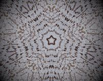 5 sided star shape extruded mandala. Abstract small squares extruded mandala. Five sided star shape. Brown and white Stock Photo