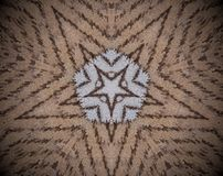 5 sided star shape extruded mandala. Abstract small squares extruded mandala. Five sided star shape. Brown and white Royalty Free Stock Photos