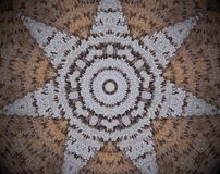 7 sided star shape extruded mandala. Abstract small squares extruded mandala. Seven sided star shape. Brown and white Royalty Free Stock Photos