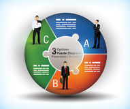 3 sided wheel chart. With connected segments and illustration of business people Royalty Free Stock Images
