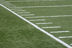 Sideline Angle. A view of a football field Royalty Free Stock Photos