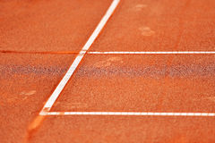 Sideline tennis clay court detail Royalty Free Stock Images