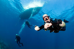Sidemount diving Royalty Free Stock Images