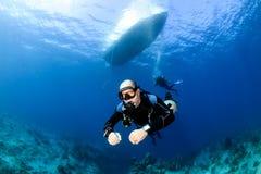 Sidemountvrij duiken Stock Foto's