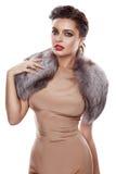 Siden- klänning för härliga för flickaaftonmakeup pälsar för smycken guld- Arkivfoto