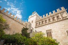 Siden- utbyte av Valencia, Spanien Llotja de la Seda Royaltyfri Fotografi