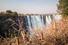 Siden- vatten i Victoria Falls, sikt från Zimbabwe Fotografering för Bildbyråer