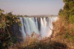 Siden- vatten i Victoria Falls, sikt från Zimbabwe Arkivfoto