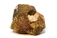 Siderite (mineral) på vit bakgrund Fotografering för Bildbyråer