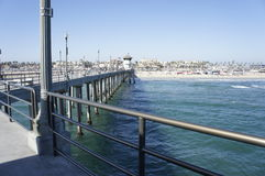 Sides Of The Bridge Pier. The side view of the pier bridge keep the ocean visible by beach goer photographer and surfers Stock Image