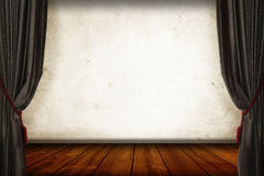2 sides Classic grey Curtain and vintage woody floor as pisplay Stock Photos