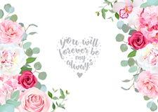 Sides wedding floral vector design frame. Rose, white peony, orchid, camellia, hydrangea, pink flowers, silver dollar eucalyptus leaves. Floral banner stripe vector illustration