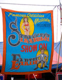 Sideshow Oddities Freakshow. Banner for a sideshow at a rural country fair. Champlain Valley Fair, Essex Junction Vermont royalty free stock image