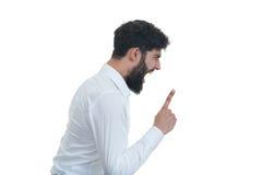 Sideview του νεαρού άνδρα με το ανοικτό στόμα η ανασκόπηση απομόνωσε το λευκό στοκ εικόνες με δικαίωμα ελεύθερης χρήσης