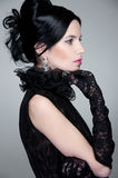 Sideview of beautiful brunette Stock Images