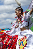 Sideview of beautiful Native American woman. Coeur d'Alene, Idaho USA - 07-23-2016. Young dancer participates in the Julyamsh Powwow on July 23, 2016 at the Stock Images
