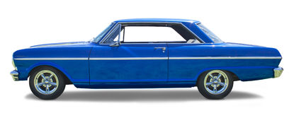 Sideview of a Blue Muscle Car. Photo of an isolated blue 1960s muscle car stock photo