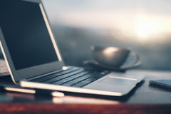 Sideview of blurry laptop Royalty Free Stock Image