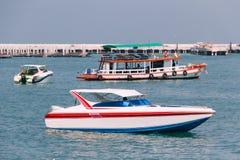 Sideview Bowrider小船在泰国湾 免版税库存照片