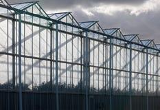 Sideview de un invernadero con un cielo nublado Foto de archivo libre de regalías