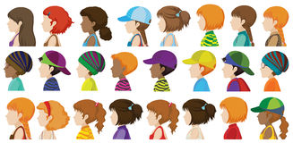 Sideview of the different faces Royalty Free Stock Photo