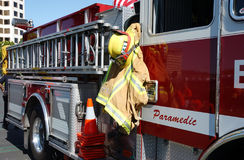 Sideview of Firetruck. Firetruck side view with gear and ladder Royalty Free Stock Image