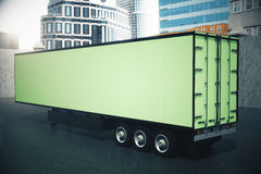 Sideview of green semi-trailer Royalty Free Stock Images