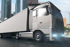 Sideview grigio del camion illustrazione di stock