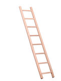 Sideview of isolated wooden ladder Royalty Free Stock Images