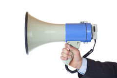 Sideview of a megaphone. Isolated on white background Royalty Free Stock Images