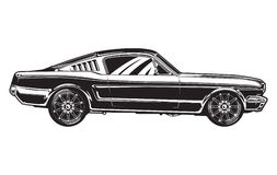 Sideview of a Muscle Car. Illustration of a 1960s muscle car- side view Stock Photo