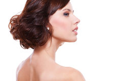 Sideview portrait of young alluring woman Stock Photography