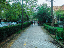 Sidewalk in Alexandras Avenue. In Corfu island Greece Royalty Free Stock Images