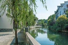 sidewalk along Qinghuai river Stock Photos