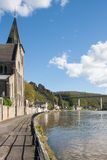 Sidewalk along the river Meuse, Belgium Royalty Free Stock Photos