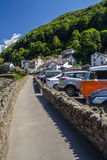 The sidewalk along the river and parking in Lynmouth Stock Photo