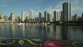 Sidewalk Art, FalseCreek Seawall, Vancouver stock video