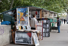 Sidewalk artists on Seine Embankment. Paris Royalty Free Stock Photography