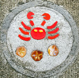 Sidewalk artwork, Crab Stock Photos
