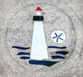 Sidewalk artwork, Lighthouse Royalty Free Stock Photography