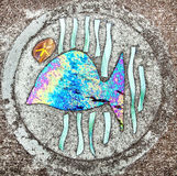 Sidewalk artwork, Whale Stock Photo