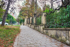 Sidewalk In Autumn Town Royalty Free Stock Image