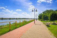 Sidewalk and bike path at Vistula river in Tczew. Poland Royalty Free Stock Images